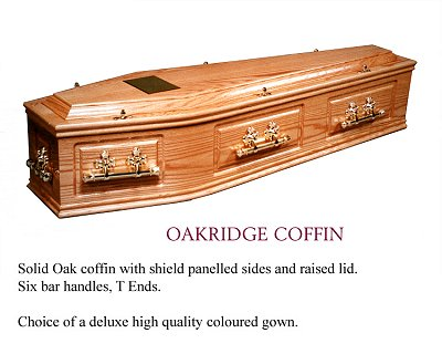Oakridge solid oak coffin